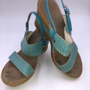 Onex Teal Thalia Wedge Sandals Size 6
